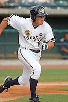 Charleston Riverdogs outfielder Slade Heathcott  #6 running to first base during a game vs. the Rome Braves at Joseph P. Riley Jr. Ballpark in Charleston, South Carolina on June 6, 2010. Charleston defeated Rome by the score of 4-2.  Photo By Robert Gurganus/Four Seam Images
