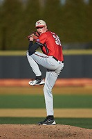 Gardner-Webb Runnin' Bulldogs relief pitcher Noah Davis (36) in action against the Wake Forest Demon Deacons at David F. Couch Ballpark on February 18, 2018 in  Winston-Salem, North Carolina. The Demon Deacons defeated the Runnin' Bulldogs 8-4 in game one of a double-header.  (Brian Westerholt/Four Seam Images)