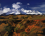 Wolson Peak with autumn aspen trees, Telluride, Colorado, USA.
