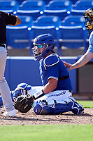 Toronto Blue Jays catcher Reese McGuire (7) during a Major League Spring Training game against the Pittsburgh Pirates on March 1, 2021 at TD Ballpark in Dunedin, Florida.  (Mike Janes/Four Seam Images)