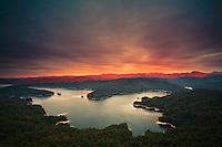 Autumn sunset over Lake Jocassee