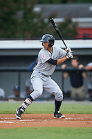 Gosuke Katoh (28) of the Pulaski Yankees at bat against the Burlington Royals at Burlington Athletic Park on August 6, 2015 in Burlington, North Carolina.  The Royals defeated the Yankees 1-0. (Brian Westerholt/Four Seam Images)