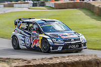Jari-Matti Latvala drives his 2016 Volkswagen Polo R WRC 1.6 litre turbocharged 4 cylinder rally car at Goodwood Festival of Speed 2016 at Goodwood, Chichester, England on 24 June 2016. Photo by David Horn / PRiME Media Images