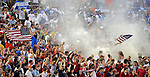 08 July 09: Unites States' fans celebrate a goal during the 2-0 win over Honduras at the CONCACAF Gold Cup at RFK Stadium in Washington, DC.