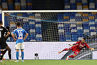 Franck Kessie of AC Milan scores a goal penalty<br /> during the Serie A football match between SSC  Napoli and AC Milan at stadio San Paolo in Naples ( Italy ), July 12th, 2020. Play resumes behind closed doors following the outbreak of the coronavirus disease. <br /> Photo Cesare Purini / Insidefoto
