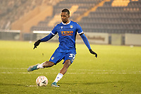 Josh Bohui, Colchester United fired his penalty wide during Colchester United vs Marine, Emirates FA Cup Football at the JobServe Community Stadium on 7th November 2020