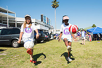 Orlando, Florida - Sunday, May 8, 2016: Young fans juggle soccer balls prior to a National Women's Soccer League match between Orlando Pride and Seattle Reign FC at Camping World Stadium.