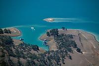 aerial photograph of houseboats docked at Lake Berryessa, Napa County, California
