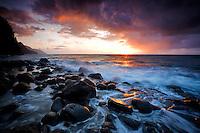 Sunset at Kee beach and the Napali coastline. Kauai, Hawaii