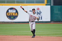 Wisconsin Timber Rattlers second baseman Brice Turang (2) during a Midwest League game against the Lansing Lugnuts at Cooley Law School Stadium on May 1, 2019 in Lansing, Michigan. Wisconsin defeated Lansing 8-3 after the game was suspended from the previous night. (Zachary Lucy/Four Seam Images)