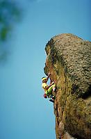 Kurt Smith (MR) rock climbing on Mean Green (5.12b in difficulty), Park County, CO. Kurt Smith. Park County, Colorado.