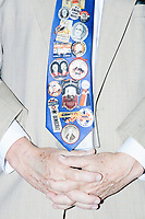 A Louisiana delegate wears a tie featuring former Democratic party politicians and presidents during a speech at the Democratic National Convention at the Wells Fargo Center in Philadelphia, Pennsylvania, on Wed., July 27, 2016.