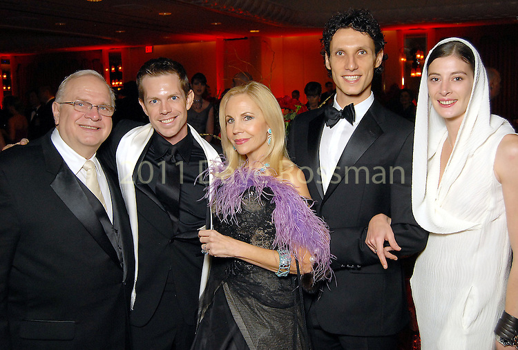From left: Ben Stevenson, Dominic Walsh, Carolyn Farb, Domenico Luciano and Marie Agnes Gillot at the Dominic Walsh Dance Theater's Firebird Soiree at the Four Seasons Hotel Saturday Oct. 17,2009. (Dave Rossman/For the Chronicle)