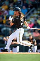 Pittsburgh Pirates John Jaso (28) follows through on a swing during a Spring Training game against the Tampa Bay Rays on March 10, 2017 at LECOM Park in Bradenton, Florida.  Pittsburgh defeated New York 4-1.  (Mike Janes/Four Seam Images)