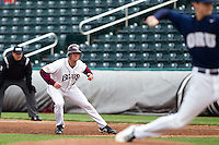 Brent Seifert (4) of the Missouri State Bears watches the pitcher deliver a pitch during a game against the Oral Roberts Golden Eagles on March 27, 2011 at Hammons Field in Springfield, Missouri.  Photo By David Welker/Four Seam Images