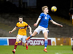 Motherwell v St Johnstone…20.02.21   Fir Park   SPFL<br />Ali McCann gets to the ball ahead of Barry McGuire<br />Picture by Graeme Hart.<br />Copyright Perthshire Picture Agency<br />Tel: 01738 623350  Mobile: 07990 594431