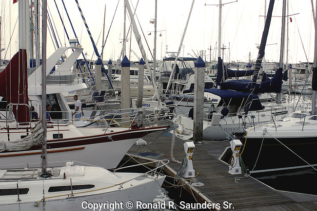 Yachts moored in the harbour at Ensenada wharf in Baja California, Mexiico