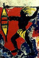 Milano, 1988.Graffiti sul muro interno del CS Conchetta. .Foto Livio Senigalliesi