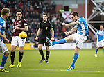 Hearts v St Johnstone…05.11.16  Tynecastle   SPFL<br />Paul Paton's shot goes wide<br />Picture by Graeme Hart.<br />Copyright Perthshire Picture Agency<br />Tel: 01738 623350  Mobile: 07990 594431