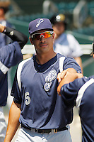 Pensacola Blue Wahoos infielder Seth Mejias-Brean (5) in the dugout during a game against the Jacksonville Suns at Bragan Field on the Baseball Grounds of Jacksonville on May 11, 2015 in Jacksonville, Florida. Jacksonville defeated Pensacola 5-4. (Robert Gurganus/Four Seam Images)