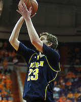 Nov 30, 2010; Clemson, SC, USA; Michigan Wolverines forward Evan Smotrycz (23) shoots a three in the game against the Clemson Tigers at Littlejohn Coliseum. Mandatory Credit: Daniel Shirey/WM Photo -US PRESSWIRE
