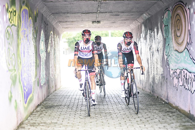 UAE Team Emirates riders head to sign on before the start of Stage 17 of La Vuelta d'Espana 2021, running 185.8km from Unquera to Lagos de Covadonga, Spain. 1st September 2021.     <br /> Picture: Unipublic/Charly Lopez | Cyclefile<br /> <br /> All photos usage must carry mandatory copyright credit (© Cyclefile | Charly Lopez/Unipublic)