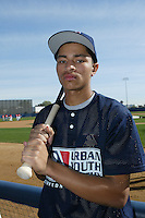 February 10 2008: Quinton Embray participates in a MLB pre draft workout for high school players at the Urban Youth Academy in Compton,CA.  Photo by Larry Goren/Four Seam Images