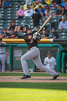 Tim Smalling (8) of the Albuquerque Isotopes at bat against the Salt Lake Bees in Pacific Coast League action at Smith's Ballpark on June 8, 2015 in Salt Lake City, Utah.  (Stephen Smith/Four Seam Images)