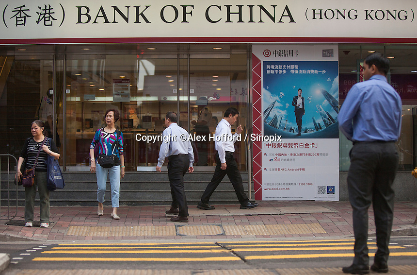 An exterior shot of the Bank of China (Hong Kong), Central district, Hong Kong, China, 28 April 2014.