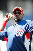 22 April 2010: Washington Nationals' outfielder Cristian Guzman warms up prior to a game against the Colorado Rockies at Nationals Park in Washington, DC. The Nationals were shut out by the Rockies 2-0 to close out their series with a 2-2 game split. Mandatory Credit: Ed Wolfstein Photo