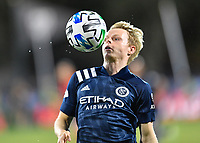 LAKE BUENA VISTA, FL - JULY 26: Gary Mackay-Steven of New York City FC takes the ball off his chest during a game between New York City FC and Toronto FC at ESPN Wide World of Sports on July 26, 2020 in Lake Buena Vista, Florida.