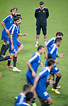 Islamic Republic of Iran coach Carlos Queiroz and his players warm up during a training session prior to their 2018 FIFA World Cup Russia Final Qualification Round Group A match against Korea Republic on 30 August 2017, at World Cup Stadium, in Seoul, Korea Republic. Photo by Victor Fraile / Power Sport Images