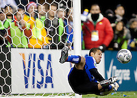 SEATTLE, WA--Real Salt Lake goalkeeper Nick Rimando blocks a penalty kick attempt during the MLS Cup championships at Qwest field in Seattle. SUNDAY, NOVEMBER 22, 2009. PHOTO BY DON FERIA.