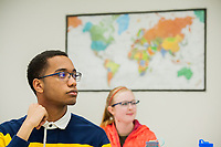 Student Mitchell Jones II listens as UAA Department of Languages Chair Dr. Natasa Masanovic-Courtney teaches Intermediate German II (GER A202) in UAA's Administration and Humanities Building.