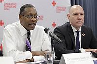 Conference de presse de la croix rouge. le 8 j anvier 2015.<br /> Dickens St-Vil, (G)<br /> Conrad Sauvé (D)<br /> <br /> PHOTO : Agence Quebec Presse