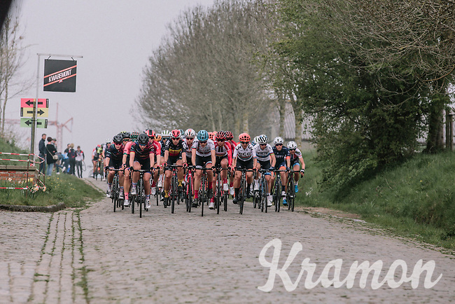 The Peloton coming through the Haaghoek during the 16th Ronde Van Vlaanderen<br /> <br /> Elite Womans Race (1.WWT)<br /> <br /> One day race from Oudenaarde to Oudenaarde<br /> ©Jojo Harper for Kramon