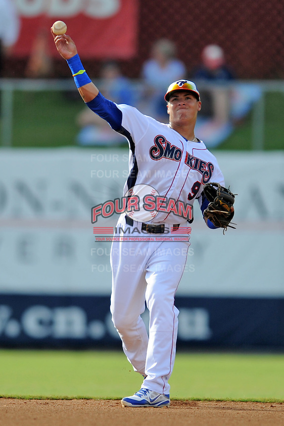 Tennessee Smokies shortstop Javier Baez #9 throws to first during game one of a double header against the Huntsville Stars at Smokies Park on July 8, 2013 in Kodak, Tennessee. The Stars won the game 2-0. (Tony Farlow/Four Seam Images)