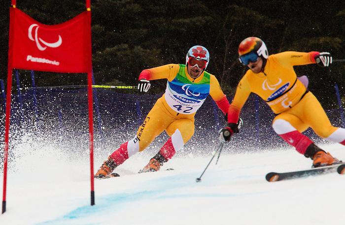 Chris Williamson and Nick Brush, Vancouver 2010 - Para Alpine Skiing // Ski para-alpin.<br /> Chris Williamson and guide Nick Brush compete in Para Alpine Skiing // Chris Williamson et son guide Nick Brush participent en ski para-alpin. 16/03/2010.