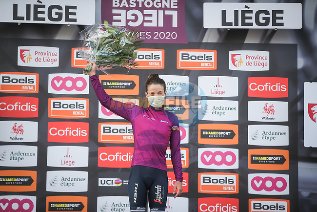 Elizabeth Deignan (GBR) Trek-Segafredo Women wins Liege-Bastogne-Liege Femmes 2020, and now leads the UCI Womens Tour, running 135km from Liege to Liege, Belgium. 4th October 2020.<br /> Picture: ASO/Thomas Maheux | Cyclefile<br /> All photos usage must carry mandatory copyright credit (© Cyclefile | ASO/Thomas Maheux)