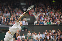 6th July 2021, Wimbledon, SW London, England; 2021 Wimbledon Championships, day 8;  Daniil Medvedev of Russia hits a serve during the mens singles fourth round match with Hubert Hurkacz of Poland