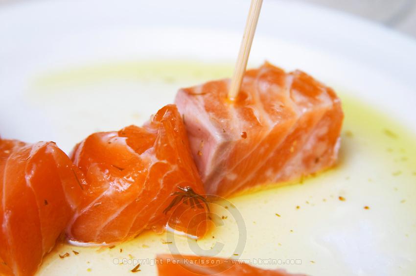 Salmon marinated. Restaurant Cal Blay, Sant Sadurni d'Anoia, Catalonia, Spain.