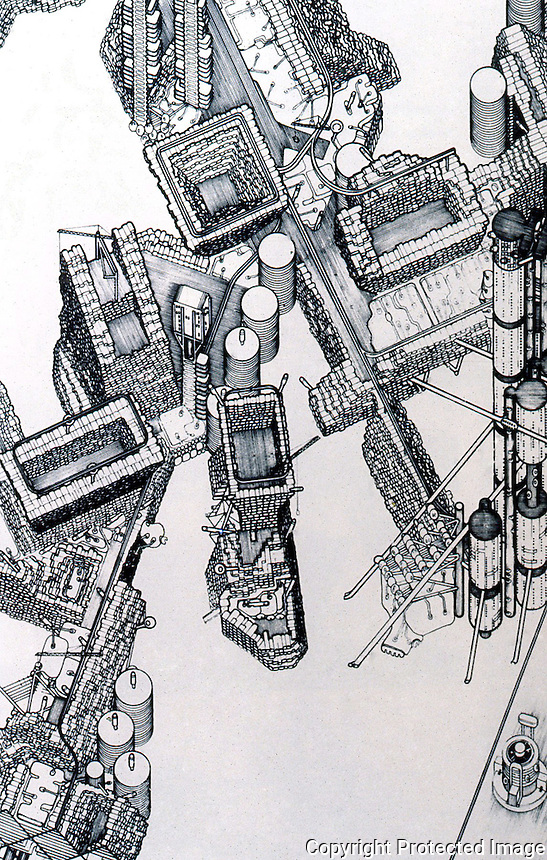 Archigram:  Plug-in City, 1964--axonometric.  Peter Cook. Photo '77.