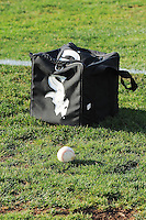 A Chicago White Sox equipment bag and ball sit on the field prior to game time as the White Sox affiliate team Great Falls Voyagers faced the Ogden Raptors in Pioneer League play at Lindquist Field on August 14, 2013 in Ogden Utah. (Stephen Smith/Four Seam Images)