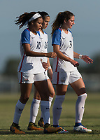 Bradenton, FL - Sunday, June 10, 2018: Mia Fishel, Kate Wiesner prior to a U-17 Women's Championship match between the United States and Haiti at IMG Academy.  USA defeated Haiti 3-2 to advance to the finals.