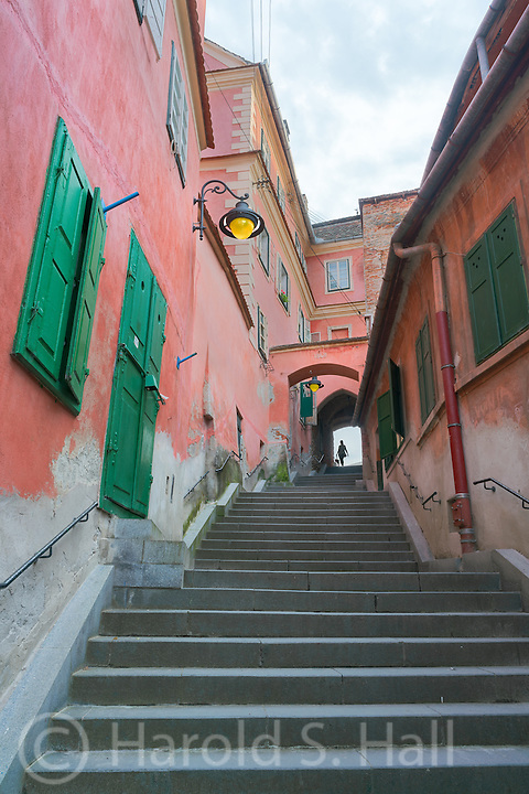 Sibiu, Romania's old town section has many colorful but hidden alleys and walkways.