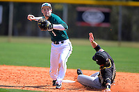 Chicago State University Cougars shortstop Julian Russell #1 during a game against the St. Bonaventure Bonnies at South County Regional Park on March 3, 2013 in Punta Gorda, Florida.  (Mike Janes/Four Seam Images)