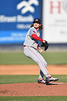 Greenville Drive starting pitcher Chris Murphy (18) delivers a pitch during a game against the Asheville Tourists on May 19, 2021 at McCormick Field in Asheville, NC. (Tony Farlow/Four Seam Images)