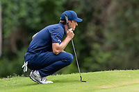 30th May 2021; Fort Worth, Texas, USA;  Jordan Spieth lines up his putt on #8 during the final round of the Charles Schwab Challenge on May 30, 2021 at Colonial Country Club in Fort Worth, TX.