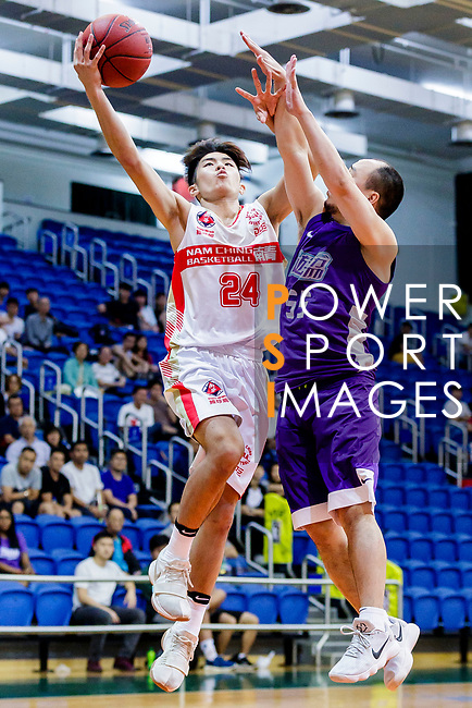 Tsang Cham Yuen #24 of Nam Ching Basketball Team goes to the basket against the HKPA during the Hong Kong Basketball League game between Nam Ching and  HKPA at Southorn Stadium on June 12, 2018 in Hong Kong. Photo by Yu Chun Christopher Wong / Power Sport Images