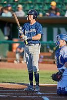 Chad McClanahan (3) of the Helena Brewers bats against the Ogden Raptors at Lindquist Field on July 14, 2018 in Ogden, Utah. Ogden defeated Helena 8-6. (Stephen Smith/Four Seam Images)